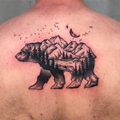 moon star and bear tattoo
