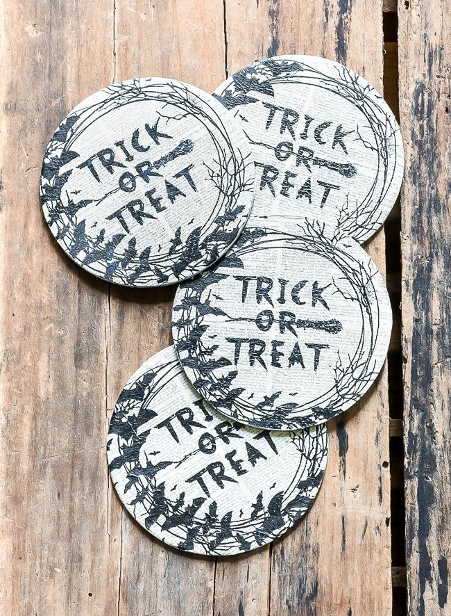 Spooky trick or treat decoupaged Halloween napkins