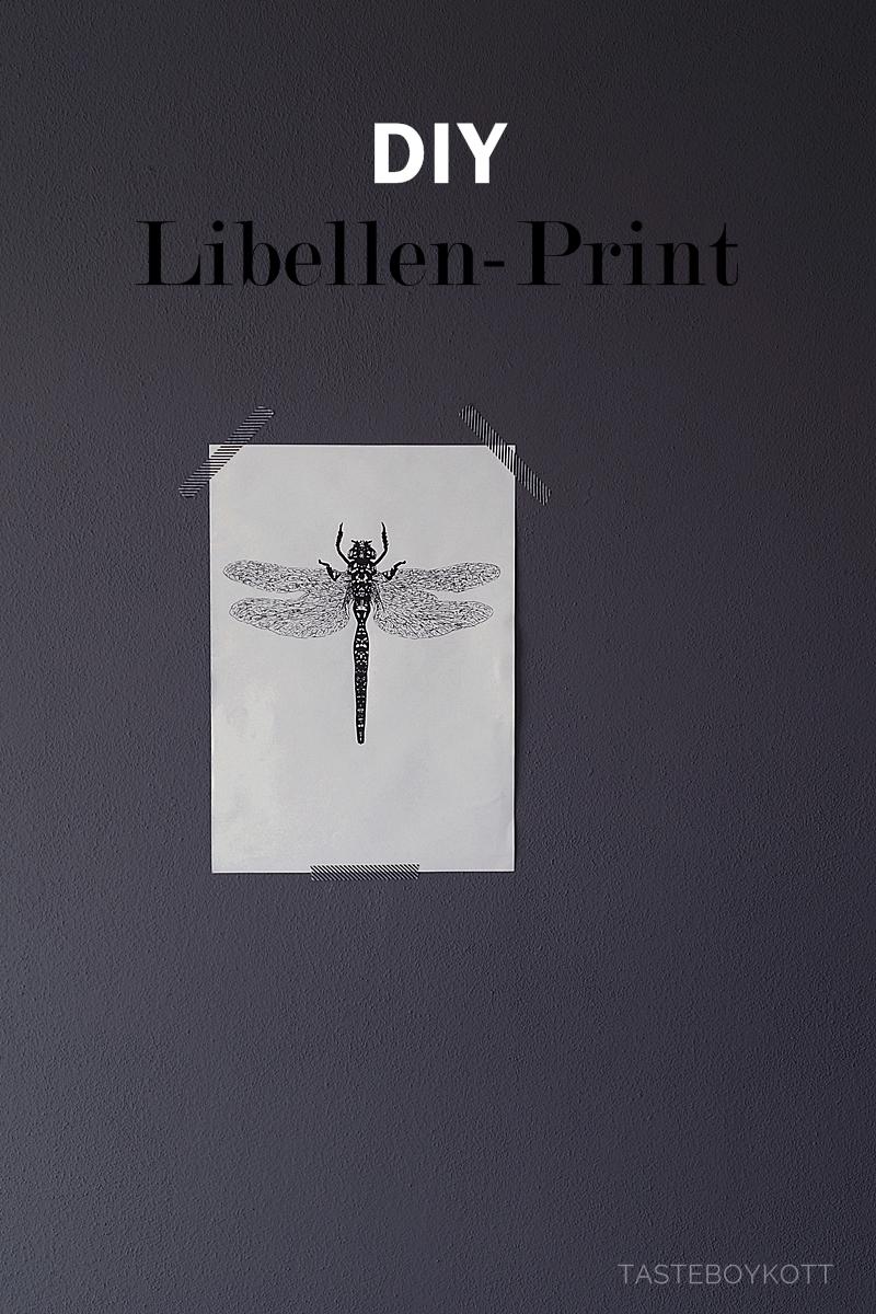DIY Libellen-Print zeichnen als günstige skandinavische Frühlingsdeko