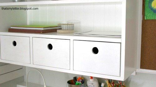 3 drawers in wall hutch