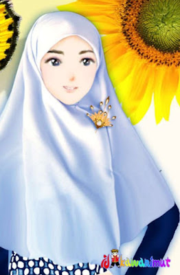 kartun muslimah imut dengan bunga matahari