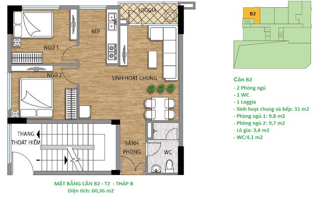 Căn hộ B2 60,36 m2 tầng 2 chung cư Valencia Garden