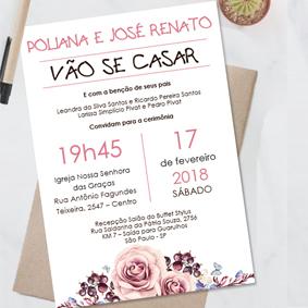 Convite casamento rose floral editavel no word