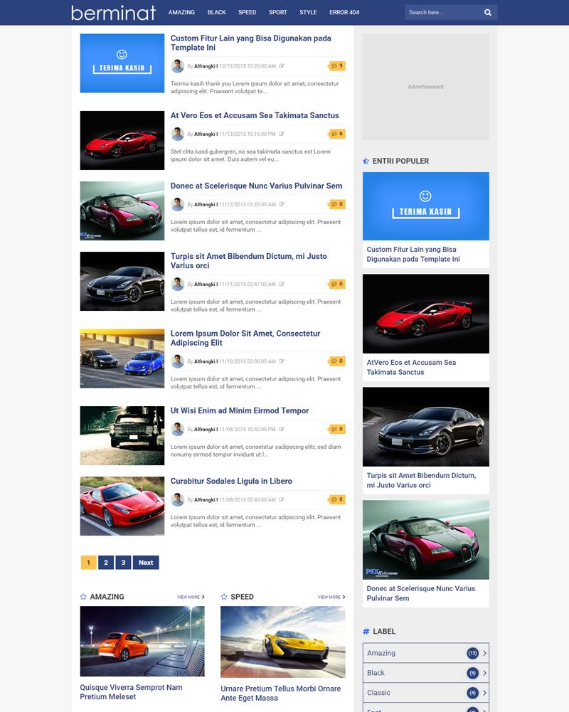 Berminat - Premium Mobile Friendly Blogger Template