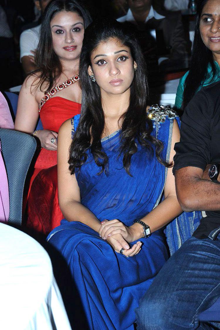 Nayantara Smiling Photos In Blue Saree