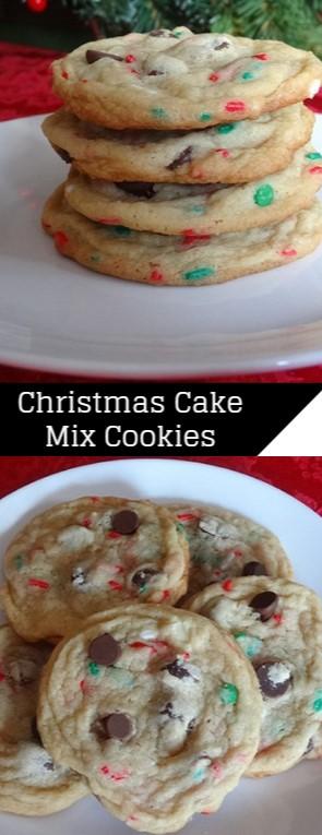 Christmas Cake Mix Cookies #christmas #cookies