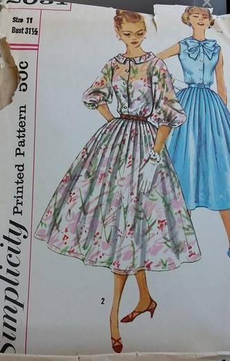 vintage 1950s 1960s sheer top full skirt dress sewing pattern