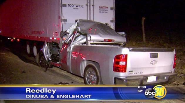 reedley chevy truck big rig collision fatal dinuba englehart avenue