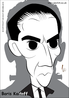 Boris Karloff caricature by Ian Davy Brown