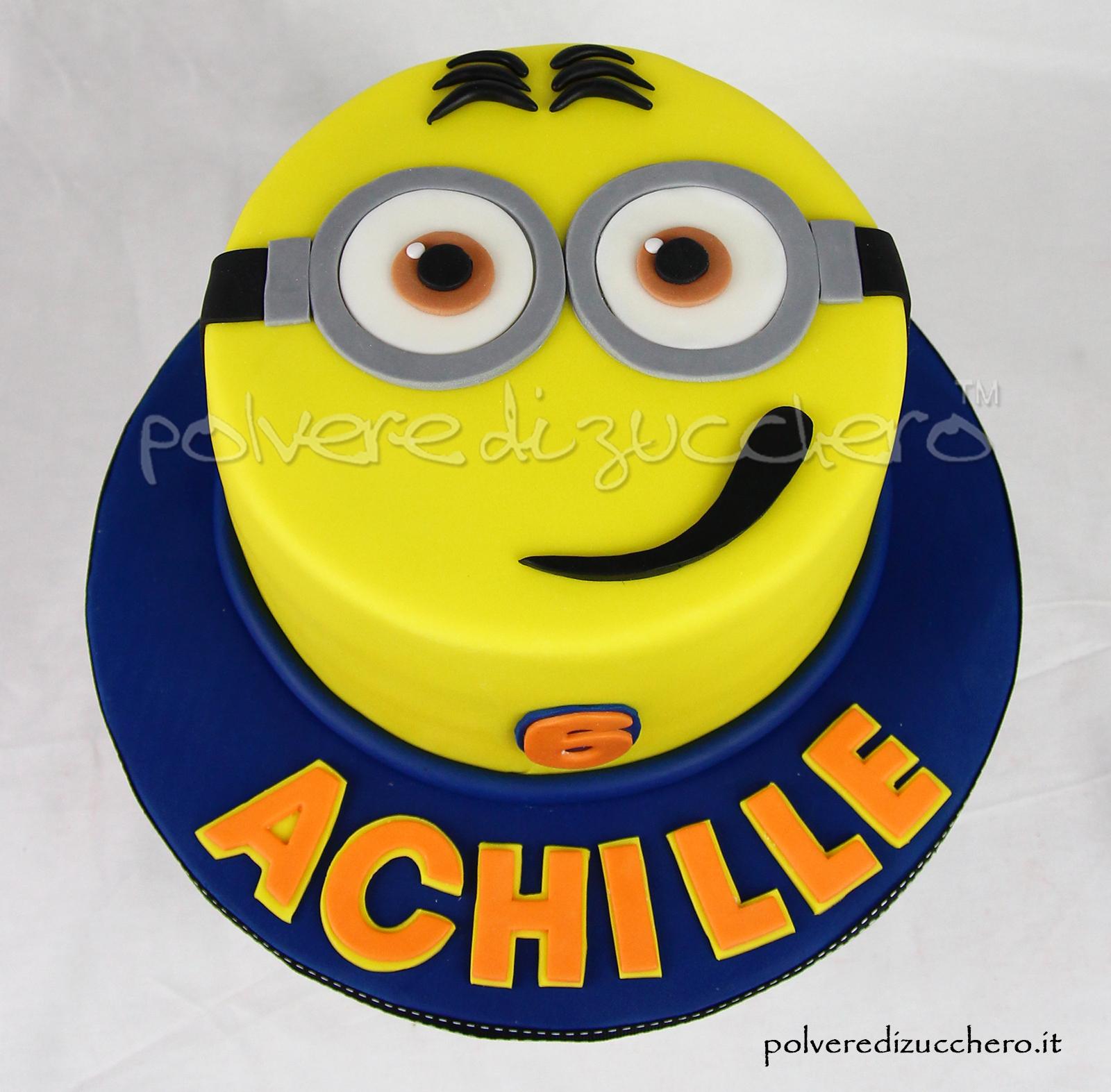 pasta di zucchero cake design torta decorata compleanno minions faccia personaggio polvere di zucchero