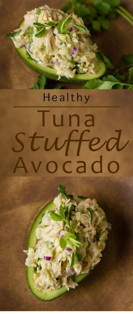 Guacamole And Tuna Stuffed Avocado