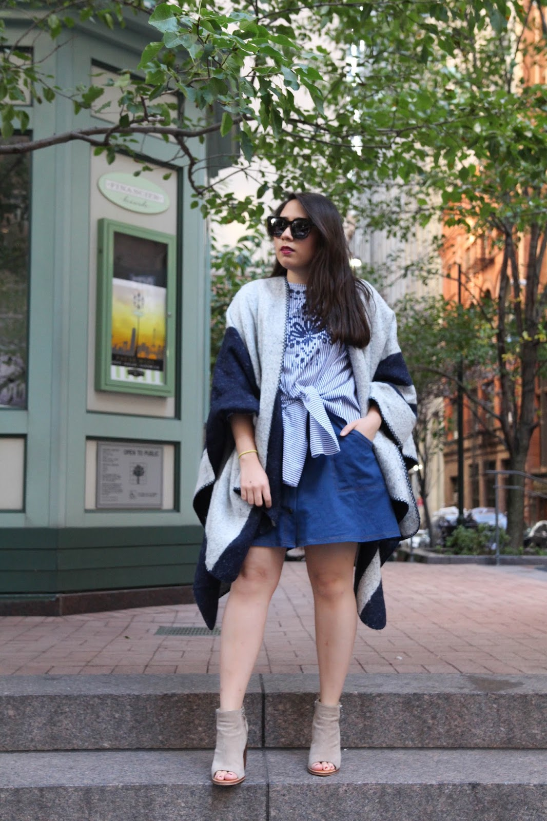 A Cozy Cape For Fall ILY Couture Navy Stripe Cape Live Laugh Linda Quinones
