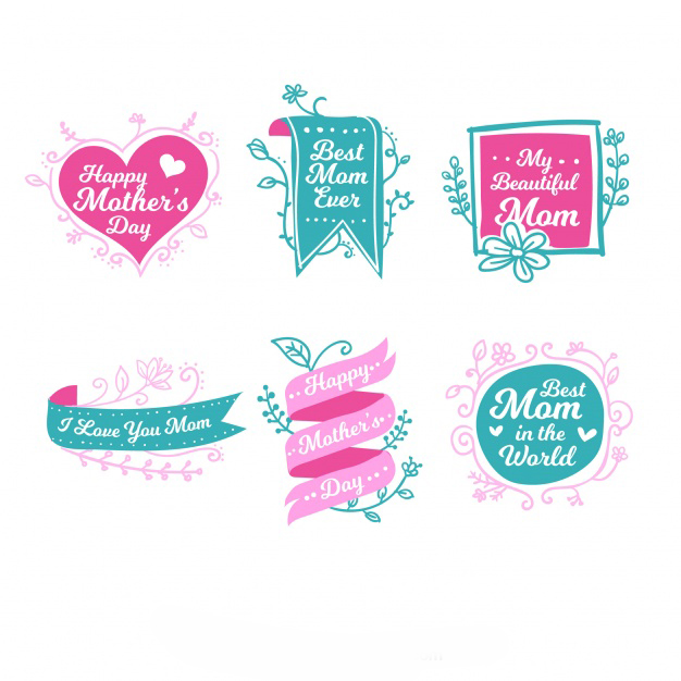 Great collection of green and pink labels for mother's day Free Vector
