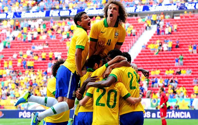 Comemoração de um gol da Seleção Brasileira (Imagem: Reprodução/Internet)