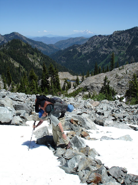 Snow on Trail in Marble Mountain Wilderness, Pacific Crest Trail