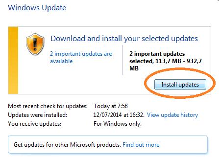 Kemudian Klik Install Updates