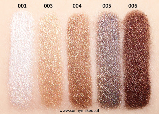 Swatch Pupa - Made to Last Waterproof Eyeshadow. Ombretti in stick waterproof:  001 Flash White, 003 Nude Gold, 004 Golden Brown, 005 Desert Taupe, 006 Bronze Brown.