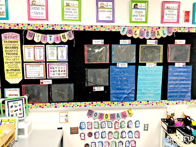 The blog posts features a tour of my 2nd grade classroom with a burlap and bright theme! My focus wall area is one of my favorite parts of the whole room.