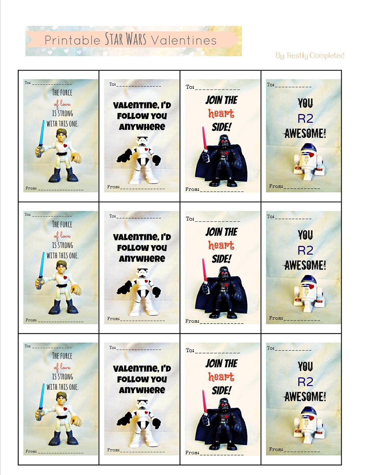 Freshly Completed Printable Star Wars Valentines
