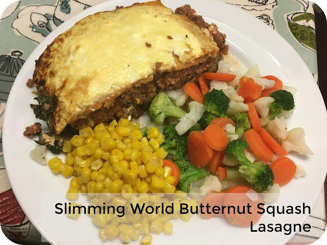 Butternut squash lasagne and vegetables