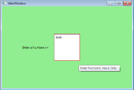 Dependency Property - Data Validation Example - Articles on WPF, C#