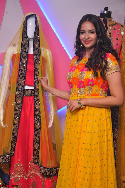 Pujitha in Yellow Ethnic Salawr Suit Stunning Beauty Darshakudu Movie actress Pujitha at a saree store Launch ~ Celebrities Galleries 002.jpg