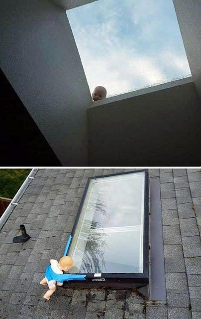 Horror Haus - Puppe vor Fenster lustige Bilder