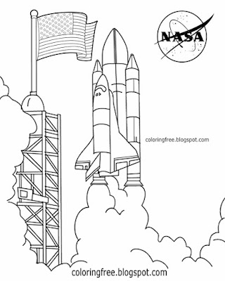 Kids United States rocket program Kennedy Space Center shuttle launch pad diagram NASA coloring page