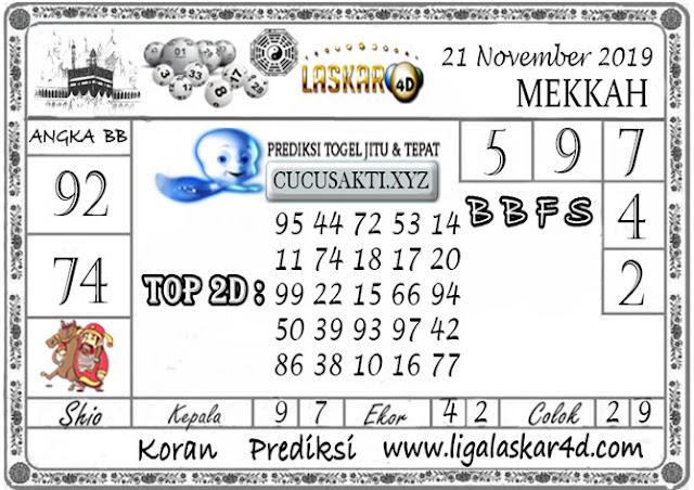 Prediksi Togel MEKKAH LASKAR4D 21 NOVEMBER 2019