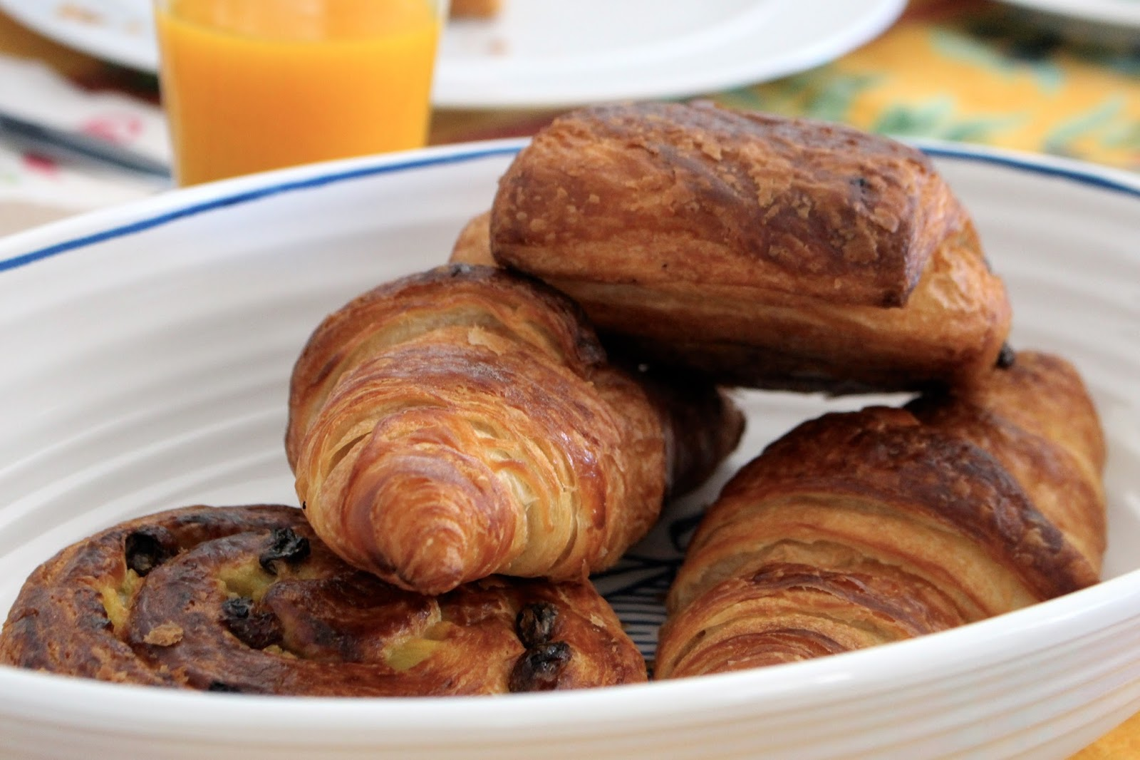 Bowl of pastries for breakfast in France