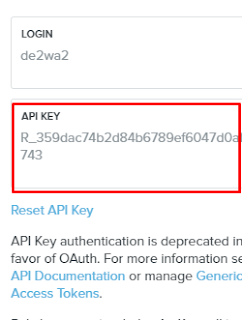 API key bitly