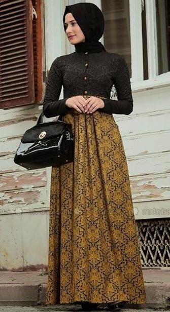 30 model baju batik muslim terbaru 2018 Model baju gamis batik muslimah terbaru