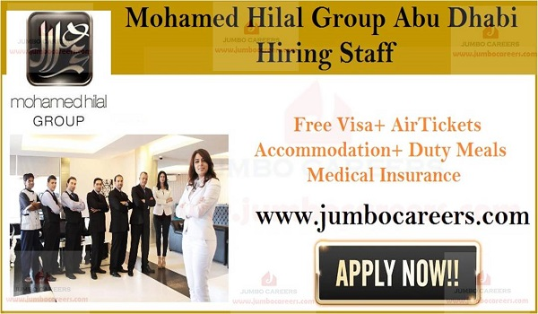 UAE hotel jobs with free visa and air ticket, Available jobs in Abu Dhabi,