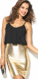 Vestido glitter de dos piezas con falda metalizada para nochevieja 2017