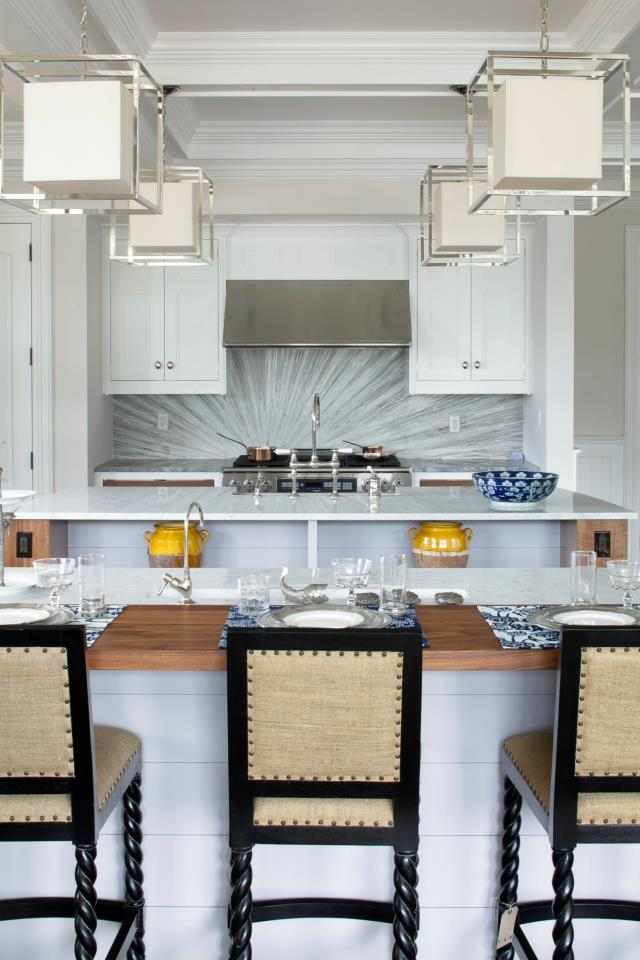 white kitchen black bar stools hamptons home