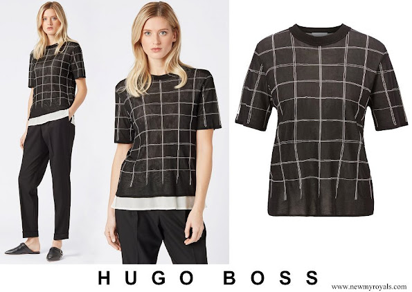 Queen Letizia wore Hugo Boss Knitted sweater in tube jacquard with-double layer effect
