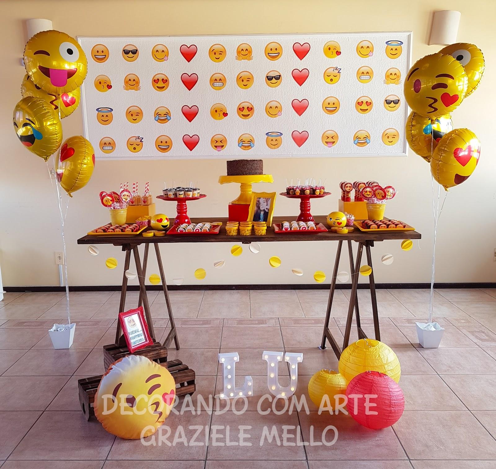 Decorando com Arte Lembrancinhas Personalizadas Decoraç u00e3o Emoji -> Decoração De Festa Tema Emoji