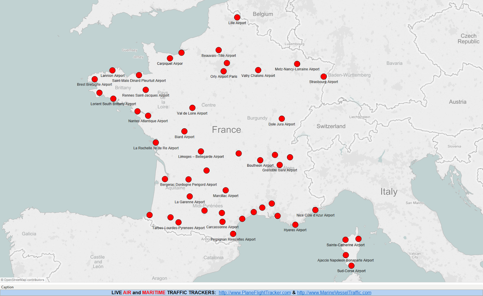 Map Of France Showing Airports.France Airports Map Plane Flight Tracker