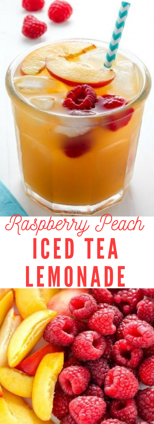 Raspberry Peach Iced Tea Lemonade #lemonade #smoothie