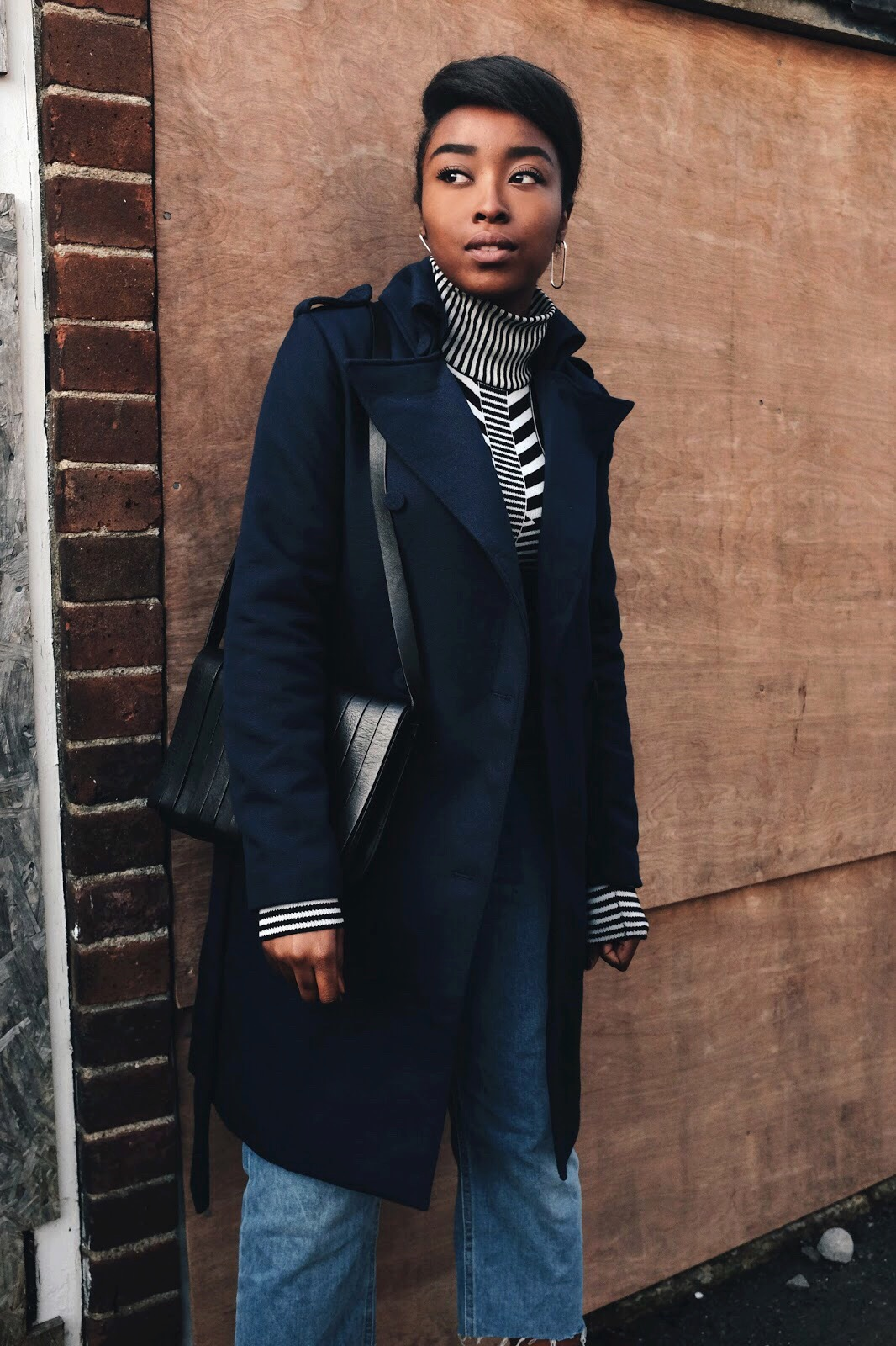 Finders Keepers Moving On Navy Trench Coat and Always Like This Long Sleeve Geometric Turtle Neck Top