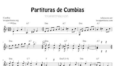 4 Partituras de Cumbias Partitura con Acordes de La Piragua, La Subienda, Navidad Negra y La Pollera Colorá Cumbia
