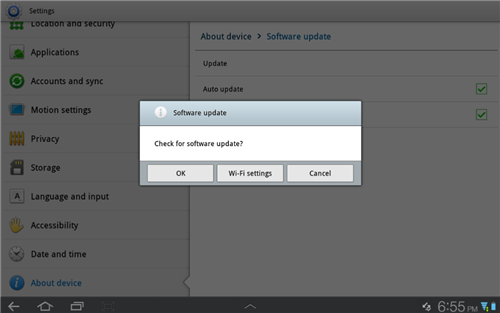 Software Updates On Samsung  Galaxy Tab
