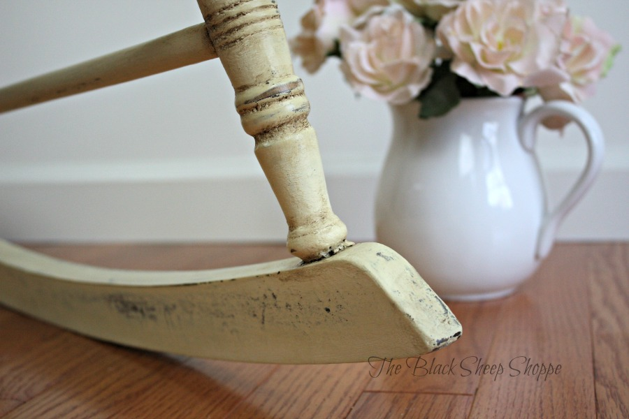 Cream chalk paint with distressing and dark wax.