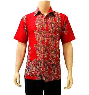 Baju Batik Pria Lengan Pendek Terbuat Dari Bahan Katun Warna Merah