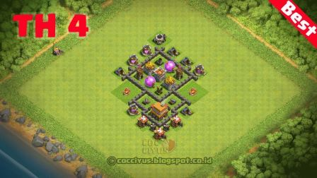 Formasi clash of clans town hall 4 base farming