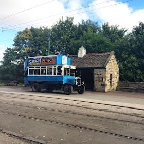 blue vintage bus at Beamish Durham