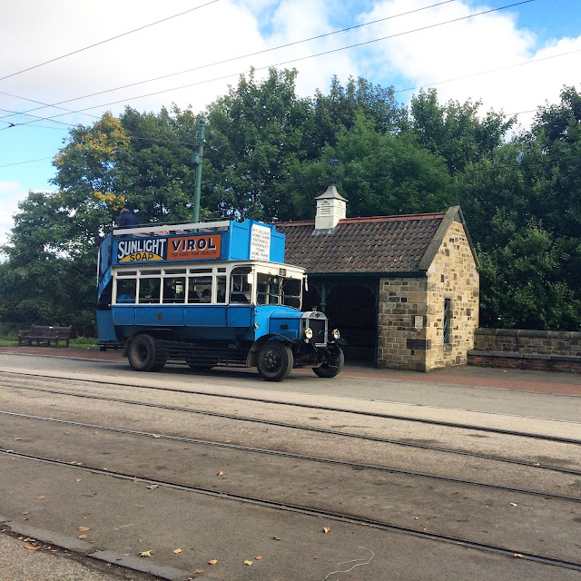 blue vintage bus at Beamish Durham