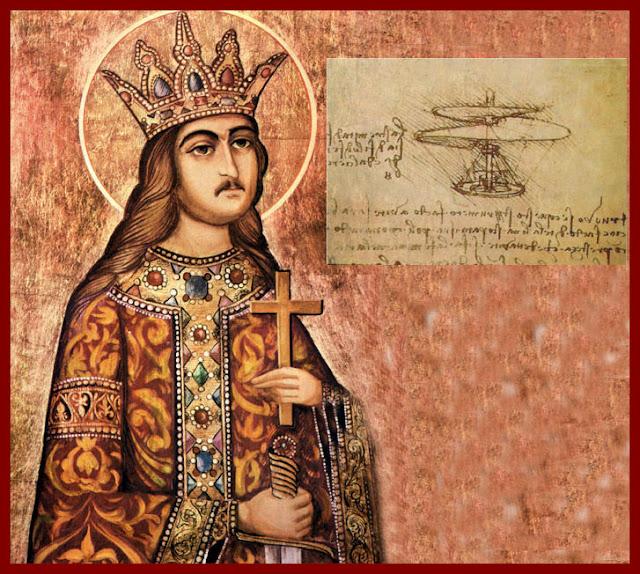 Stefan cel Mare cu o schita de helicopter a lui Leonardo da Vinci - blog FOTO-IDEEA