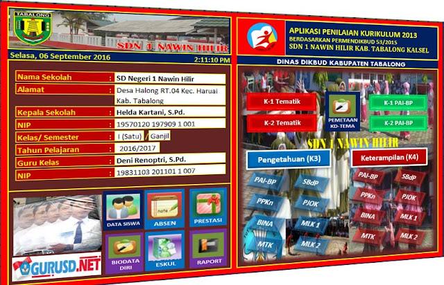 Aplikasi Penilaian Kurikulum 2013 SD Edisi Revisi Permendikbud 53 Tahun 2015