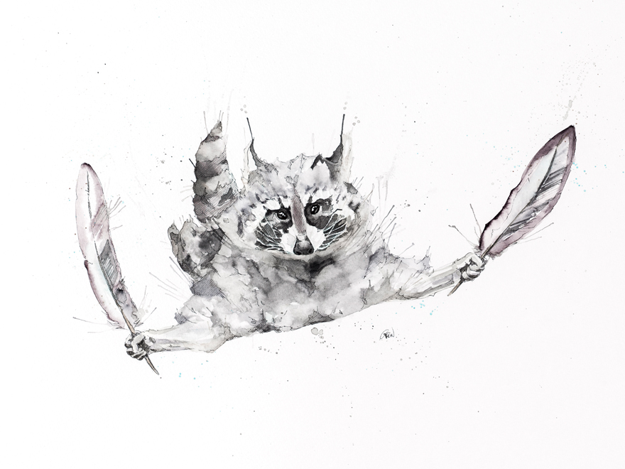 14-Raccoon-Philipp-Grein-Animal-Paintings-in-Splashes-of-Color-www-designstack-co